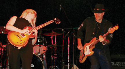 Joanne Shaw Taylor and Paul Lamb get 'er riff at Blues at the Bow on Saturday evening.