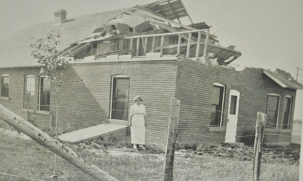 PHOTO COURTESY OF THE REDCLIFF MUSEUM - The Brant home was one of many damaged in Redcliff during the 1915 tornado.
