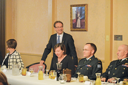 Cypress-Medicine Hat MLA Drew Barnes spoke at the annual Veteran's Supper in Redcliff. Also pictured are Allison Scott, Lt. Col. John Scott (CFB Suffield base commander), and CWO Rick Stacey.