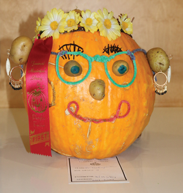 This pumpkin won first place in the pre-school/Grade1 category in the pumpkin decorating contest.