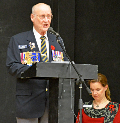 World War 2 veteran George Hope reads out the names of those from the Redcliff area who have died in all of Canada's wars.