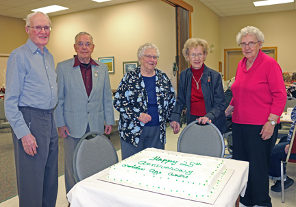 More than 100 people came out to help the Golden Age Club celebrate their 25th year. Pictured from left: Jack Hopkins, Vic Selvig, Jessie Conquergood, Edna Caswell, and Ethel Lanz.