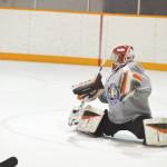 Zone 1 (southern Alberta) goaltender Marek Andres spreads out in full butterfly to make a stop at the Moose Recreation Centre versus Zone 6 (Edmonton) on Feb.14.