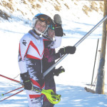 All smiles as these two young Alpine competitors take in some recreational skiing between heats at Hidden Valley Ski Resort.