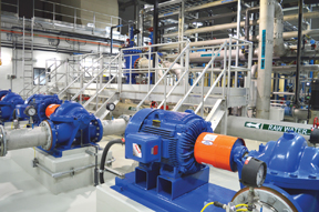 PHOTO BY TIM KALINOWSKI- The photo shows the flush pump system for the Pall Membrane System. The technology at play in the water treatment facility puts Redcliff at the forefront for municipal water treatment in the province.