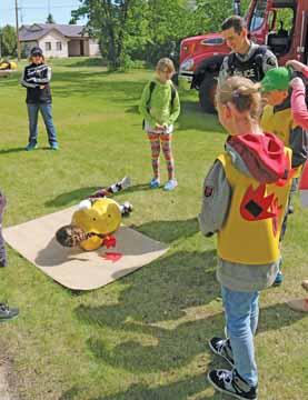 Students learned about the Stop, Drop, and Roll rule at the Fire Safety session during Farm Safety Days in Burdett last week.