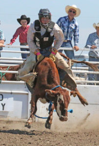 Photo by Jamie Rieger- Irvine's Kole Dolgopol scored 66 points in the steer riding event.