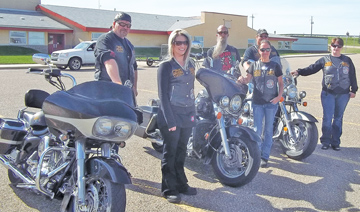 Photo by Tim Kalinowski- Members of the Urban Bulldogs Against Kids Abuse (UBAKA) get ready to hit the road for their inaugural poker run held in southeast Alberta on Saturday. Proceeds from the poker run wen to the Redcliff Youth Centre.