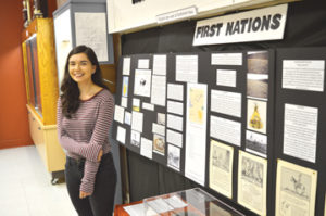Photo by Tim Kalinowski- Ooleepeeka Eegeesiak too the initiative to put together a display for the Redcliff Museum chronicling the history of the local First Nations people.