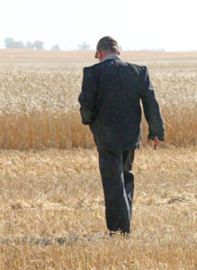 Photo By Jamie Rieger- Joe Waldner takes a walk to the standing durum during the harvest.