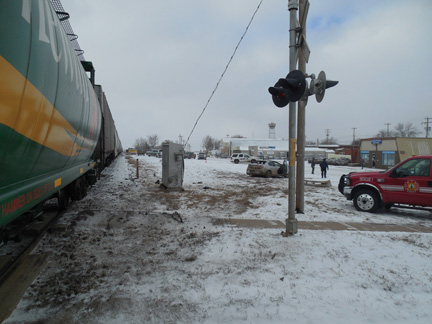 PHOTO COURTESY OF BOW ISLAND RCMP - A 23-year old driver is very fortunate to have sustained only minor injuries when the car he was driving struck the side of a passing locomotive on Sat., Feb. 21.